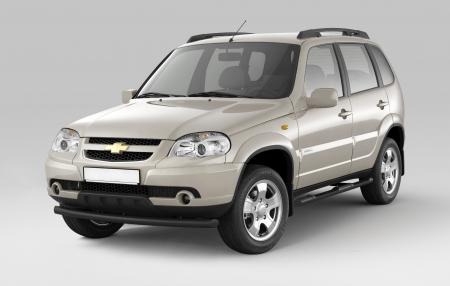 Защита порогов с накладками d63мм Chevrolet Niva FL (ППК)